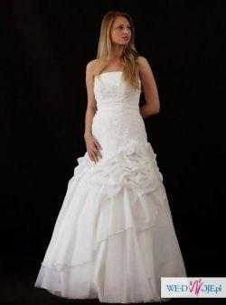 Sprzedam suknię ślubną biała z tiulem brokatowym  model Samira