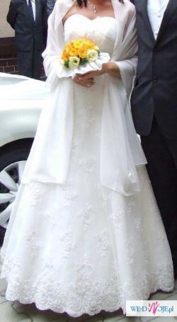 Sprzedam suknię ślubną ecru, rozmiar 38