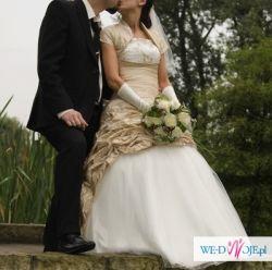 sprzedam suknię ślubną ecru ze złotem 36/38, 167cm