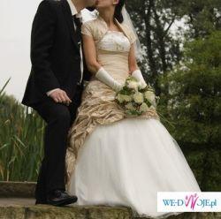 sprzedam suknię ślubną ecru ze złotem 36/38, 167cm, śląsk