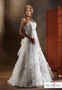 Sprzedam suknię ślubną, jasne ecru, bardzo delikana, nietypowa.
