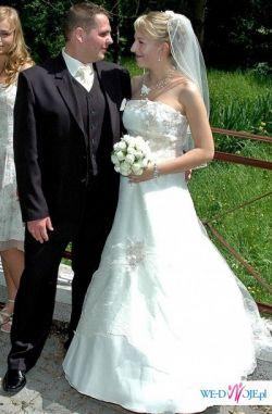 Sprzedam suknię ślubną jednoczęściową jasny ecru rozm.38/40