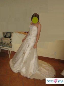 Sprzedam suknię slubną jednoczęściową w kolorze cappucino z trenem, rozm38