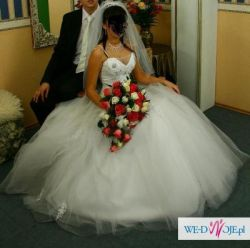 Sprzedam Suknie Ślubną kolekcja 2010 r.S Tren, Tiul, Kamienie Swarovskiego, Koro
