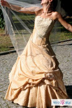 Sprzedam suknię ślubną, Kolor brzoskwinia/cappuccino, Rozmiar 34-36