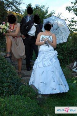 sprzedam suknię ślubną - oryginalna biała z czarnymi aplikacjami