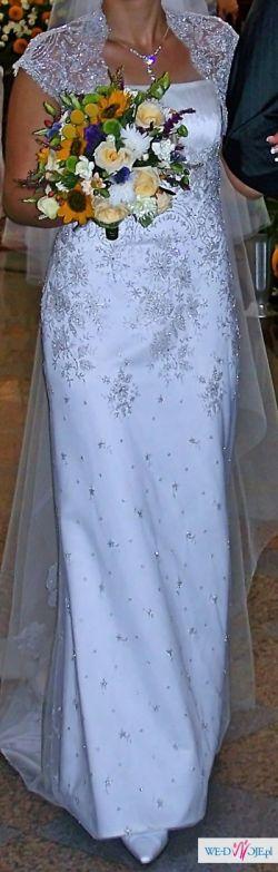 Sprzedam suknię ślubną rozmiar 38 - gratis męska kamizelka z fularem.