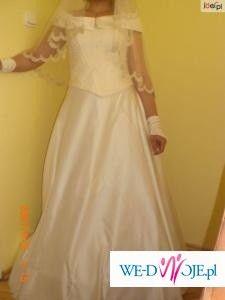 sprzedam suknie ślubną rozmiar 38 jasny ecru.cena 450 zł