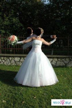 sprzedam suknie ślubną rozmiar 38 kolor bialy+jasny róż, śliczna