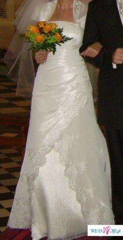 Sprzedam suknię ślubną rozmiar 38 kolor ecri z trenem