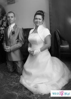 sprzedam suknię ślubną rozmiar 42-46 (dodtaki gratis)