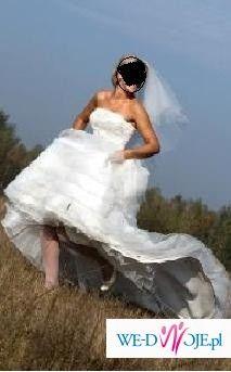 Sprzedam suknię ślubną Sweetheart 5846, 36/38(raczej bliżej 38, natomiast wg. rozmiarówki producenta jest to 36), kolor: ivory/silver