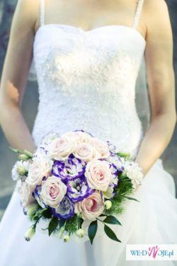 """Sprzedam suknię ślubną typu """"princessa"""" - dodatkowo bolerko i welon."""