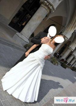 Sprzedam suknię ślubną w kolorze śmietany roz. 38 na wzrost około 164