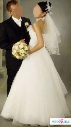 sprzedam suknię ślubną z delikatnę mgiełką