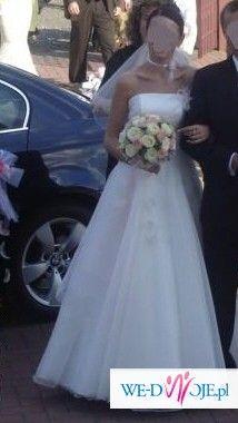 sprzedam suknię ślubną z delikatnę mgiełkąd