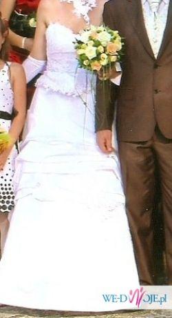 Sprzedam suknię ślubną z podpinanym trenem