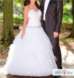 Sprzedam suknię ślubną z trenem na zamek, odpina się i go nie ma