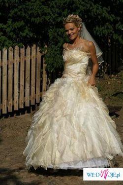 Sprzedam suknie slubną zdobiona kamieniami Swarovskiego