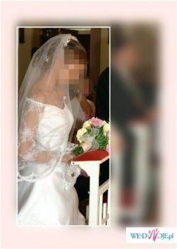 Sprzedam suknię ślubnę atłasową z koronką mieniącą się perełkami i cekinami