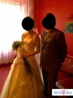 sprzedam suknie w kolorze ecru roz 36/38 z gorsetem