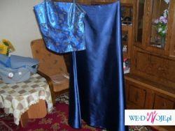 sprzedam suknię wieczorową 2czesciową z gorsetem w kolorze granatowym,rozmiar 38
