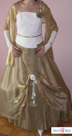 sprzedam tanio 250 zł piękną biało-złotą suknię
