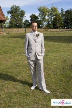 Sprzedam TANIO jasny garnitur ślubny