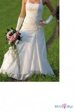 Sprzedam wyjatkową suknie ślubną w kolorze ecru (projekt własny)