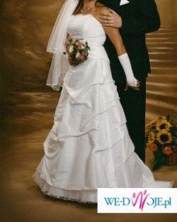 sprzedama tanio białą suknię ślubną