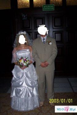 sprzedanm śliczna suknie ślubna  2 częściowa ze srebrnymi  dodatkami
