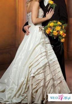 Stylowa i elegancka suknia ślubna w kolorze ecru/szmpański