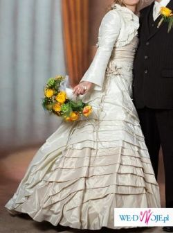 Stylowa i elegancka suknia ślubna w kolorze szampańskim / ecru