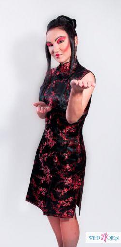Sukienka Chińska Qipao krótka czarna