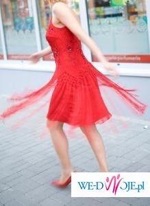 sukienka czerwona Mary's Tune Paris Style frędzle