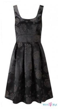 Sukienka Fever kwiaty satyna czarna szara rozkloszowana 38