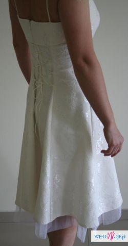 sukienka koktailowa ecrue z ramiączkami