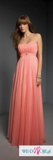Sukienka na ślub cywilny, poprawiny, jako drużka brzoskwiniowo-pomarańczowo-róż