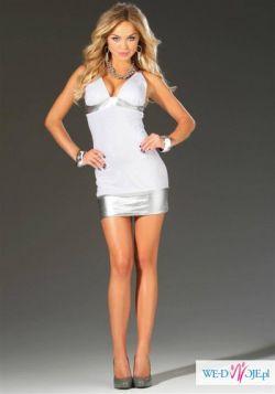 Sukienka seksowna biała srebrna na imprezę mini 38