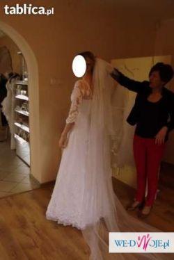 Sukienka Ślubna + bolerko + ramiączko odpinane + welon (długi i krótki)