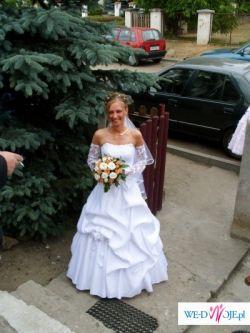 sukienka slubna trzy czesciowa biala.+welon wyszywany biala lamowka,