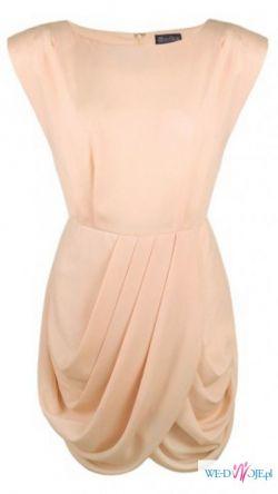 Sukienka szykowna elegancka fałdy bombka biało złota 40