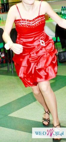 sukienka weselno-komersowo-studniówkowa: czerwona