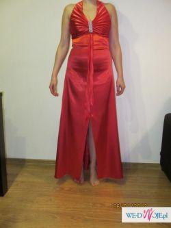 Sukienka wieczorowa, długa, w kolorze soczystej czerwieni