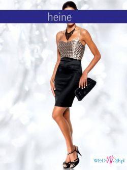 Sukienka wieczorowa satyna gorset czarna srebrna 40