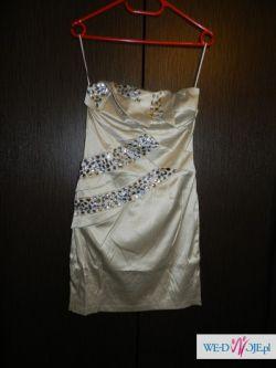 Sukienki z kamieniami- czarna i beżowa (2szt.)