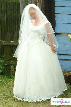 suknia 42 gorset + spódnica tiul/halka + welon + tren