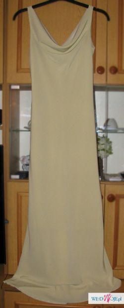 Suknia beżowa, długa, 170/180 cm, rozm. 36/38, podszewka