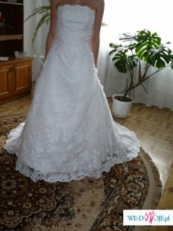 Suknia biała z trenem z kolekcji Annais Bridal – model RITA