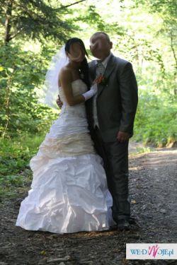 Suknia biało brzoskwiniowa rozmiar 36